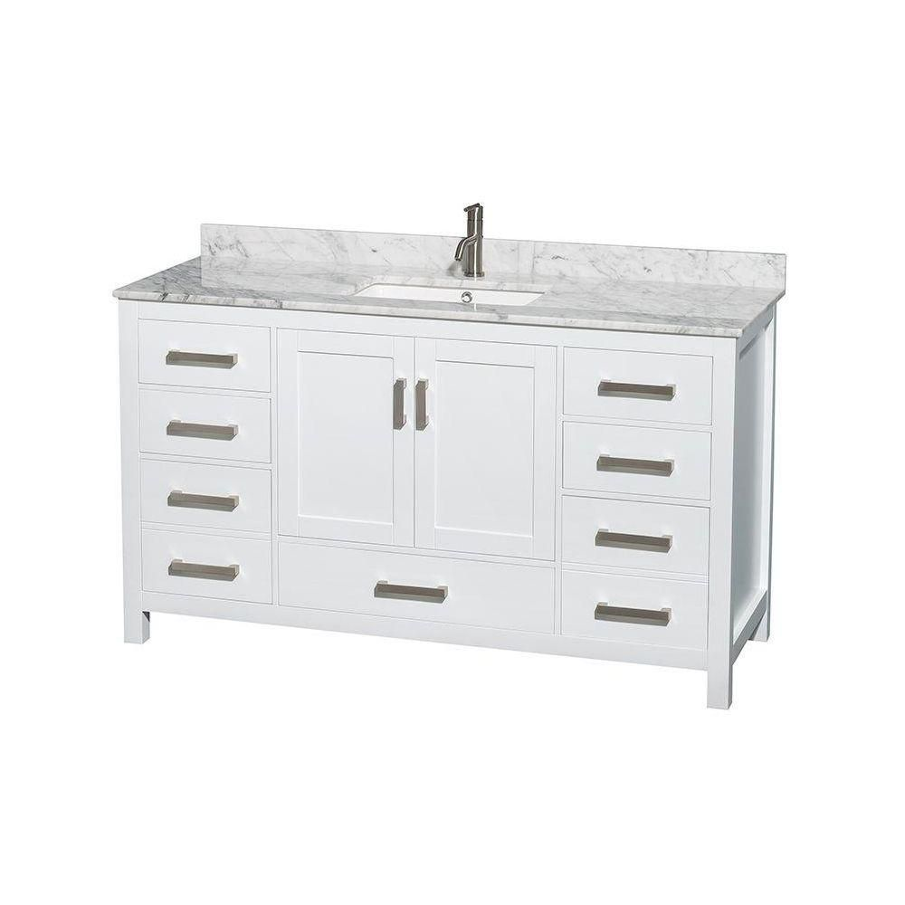 Sheffield 60-inch W Vanity in White Finish with Marble Top in Carrara White