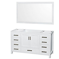 Sheffield 59-Inch  Vanity Cabinet with 58-Inch  Mirror in White