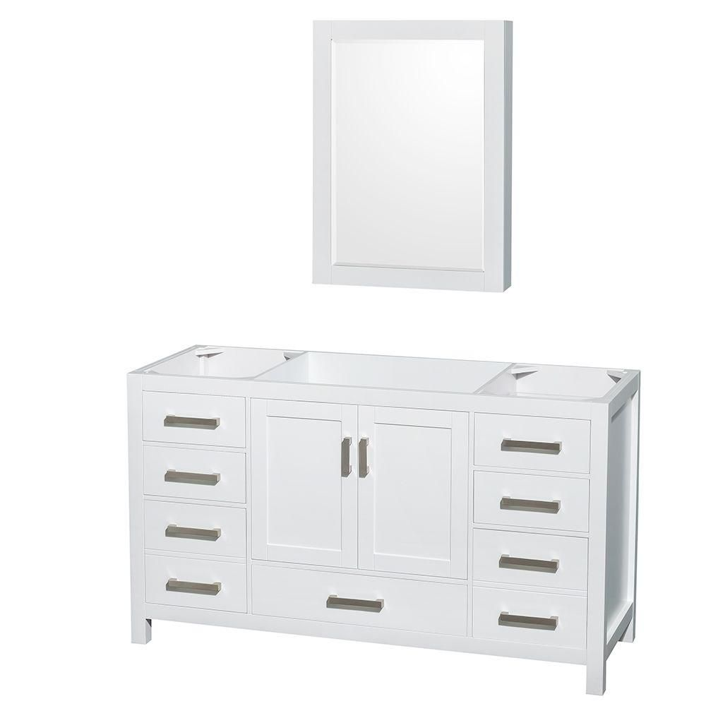 Wyndham Collection Sheffield 59-Inch  Vanity Cabinet with Medicine Cabinet in White
