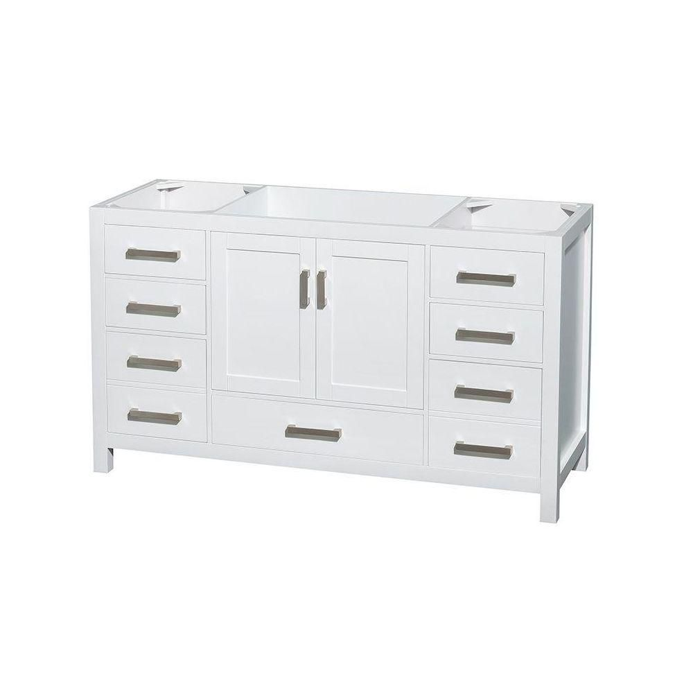 Wyndham Collection Sheffield 59-Inch  Vanity Cabinet in White