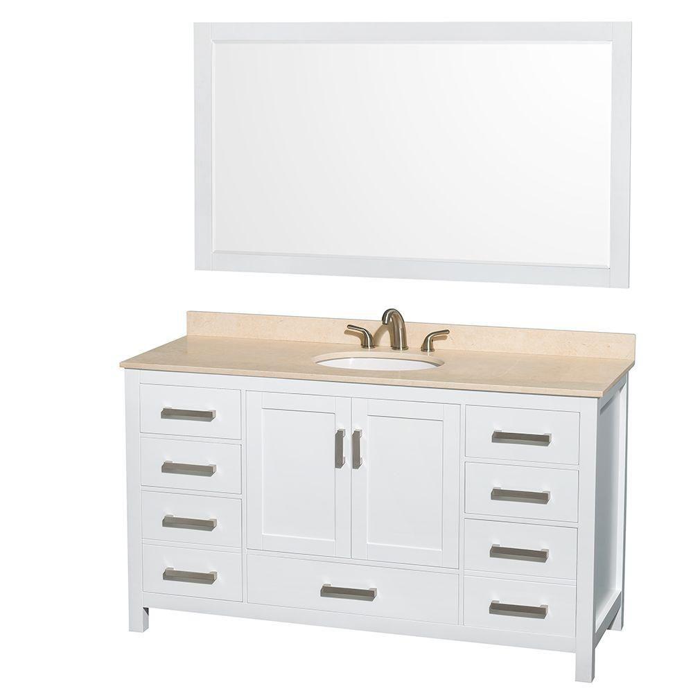 Sheffield 60 po Meuble blanc dbl. et revêt. en marbre ivoire, évier ovale et de 58po Miroir
