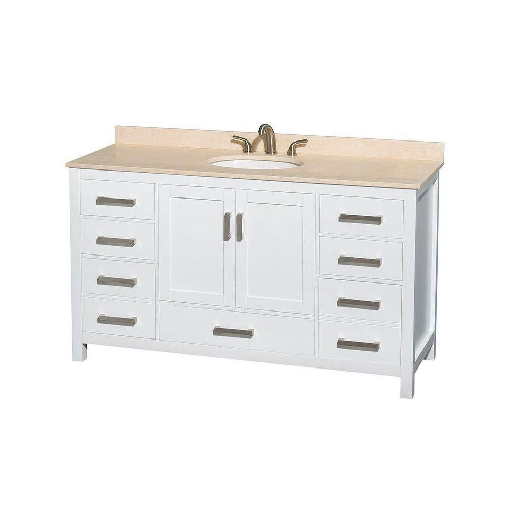Sheffield 60-inch W Vanity in White Finish with Marble Top in Ivory