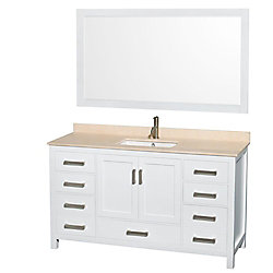 Wyndham Collection Sheffield 60-inch W 7-Drawer 2-Door Vanity in White With Marble Top in Beige Tan With Mirror
