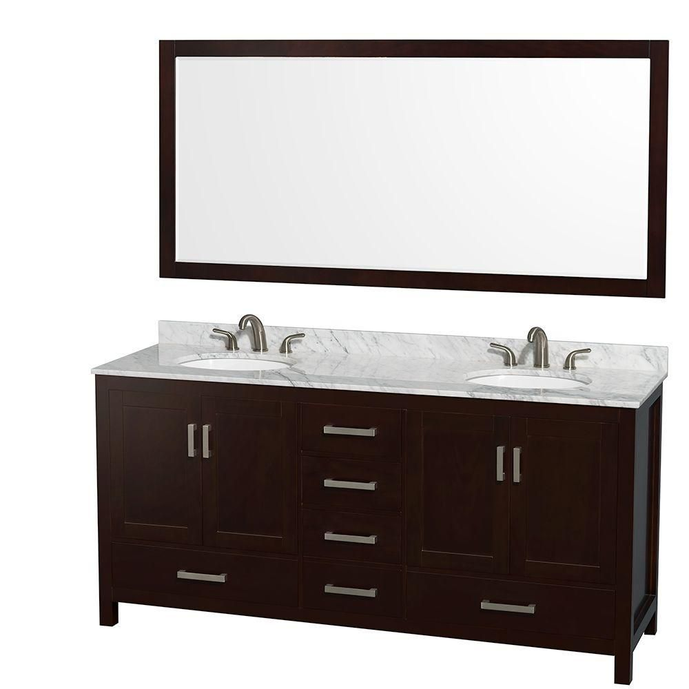 Sheffield 72-inch W Double Vanity in Espresso with Marble Top in Carrara White and Mirror