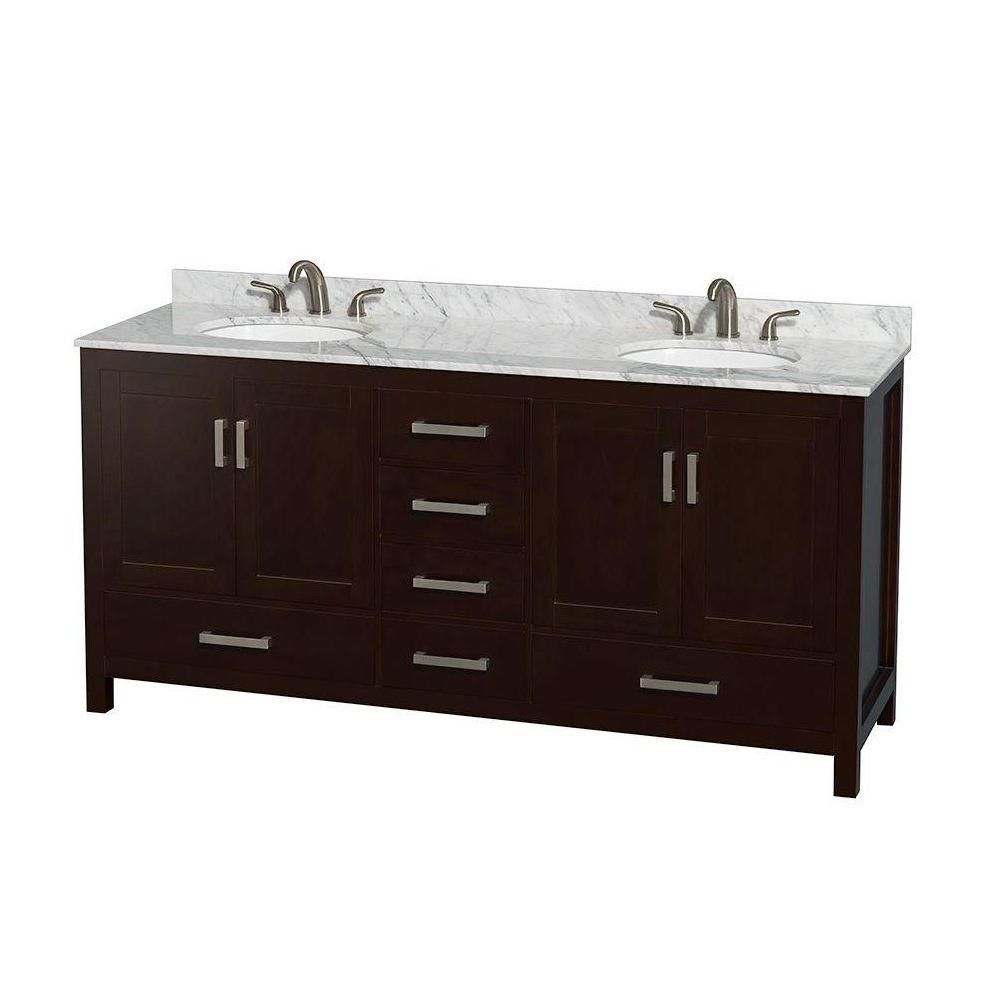Sheffield 72-inch W Double Vanity in Espresso Finish with Marble Top in Carrara White