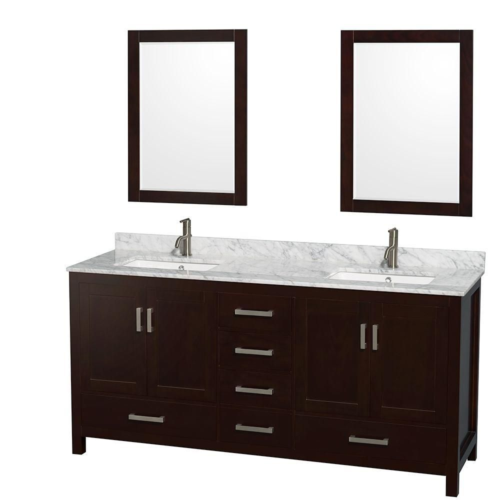 Wyndham Collection Sheffield 72-inch W 5-Drawer 4-Door Vanity in Brown With Marble Top in White, 2 Basins With Mirror