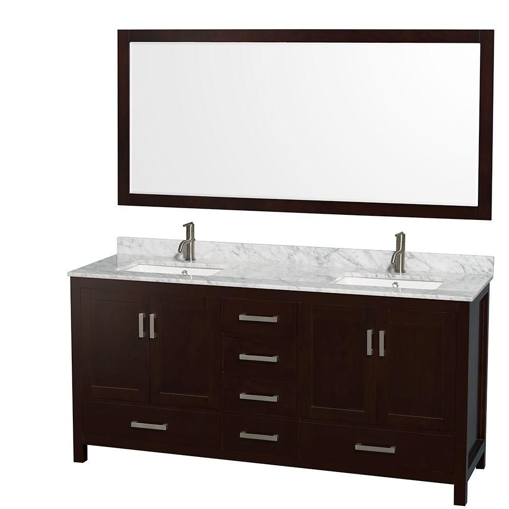 Sheffield 72-inch W 5-Drawer 4-Door Vanity in Brown With Marble Top in White, 2 Basins With Mirror