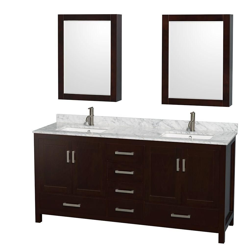 Sheffield 72-inch W Double Vanity in Espresso with Marble Top in Carrara White and Medicine Cabin...