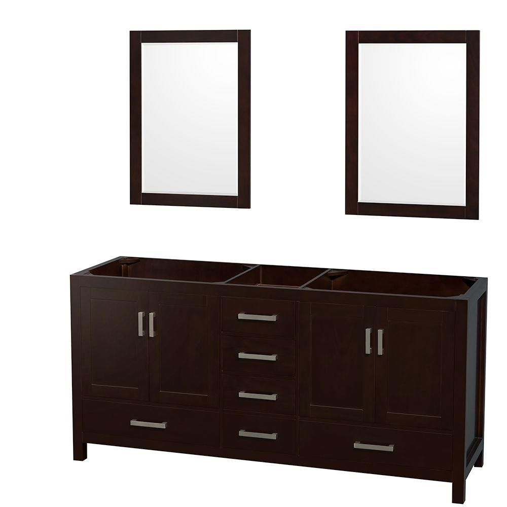 Sheffield 70-Inch  Double Vanity Cabinet with 24-Inch  Mirrors in Espresso