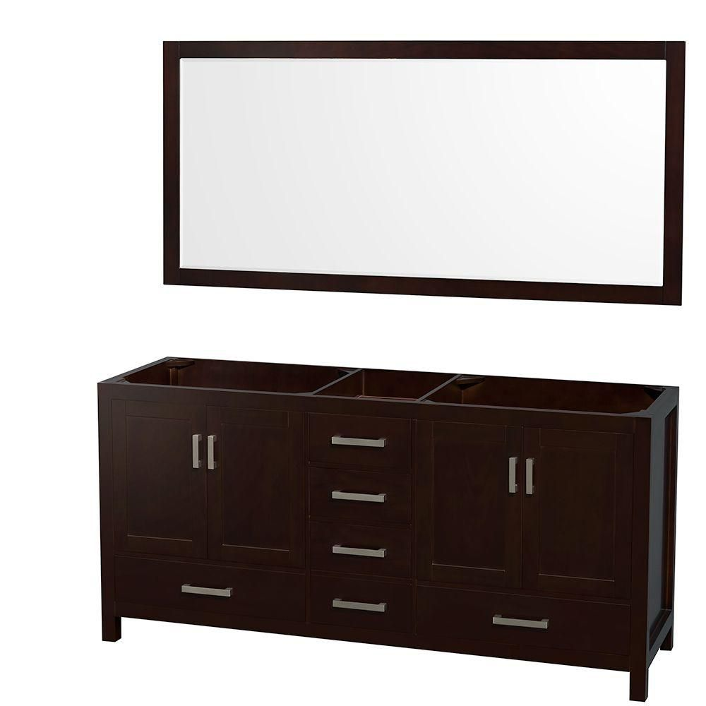 Sheffield 70-Inch  Double Vanity Cabinet with 70-Inch  Mirror in Espresso