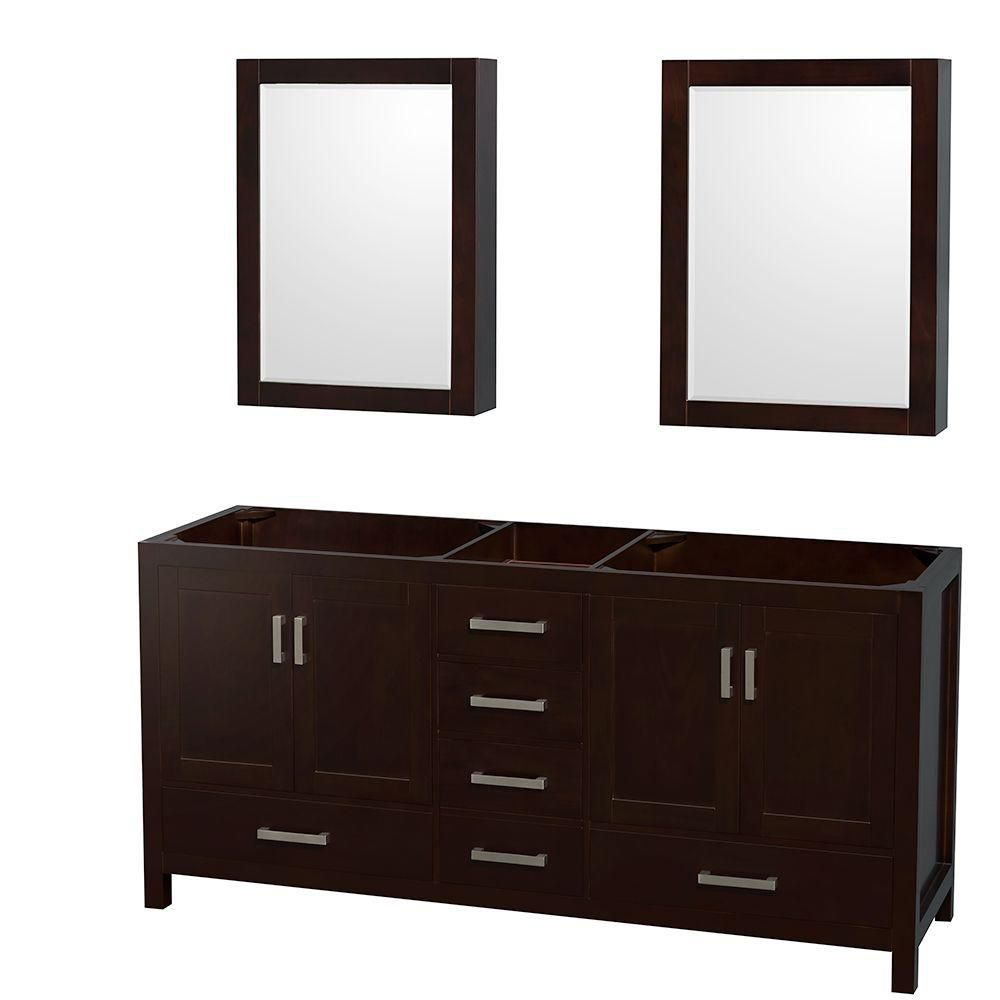 Wyndham collection sheffield 70 inch double vanity cabinet for Cabinets and vanities