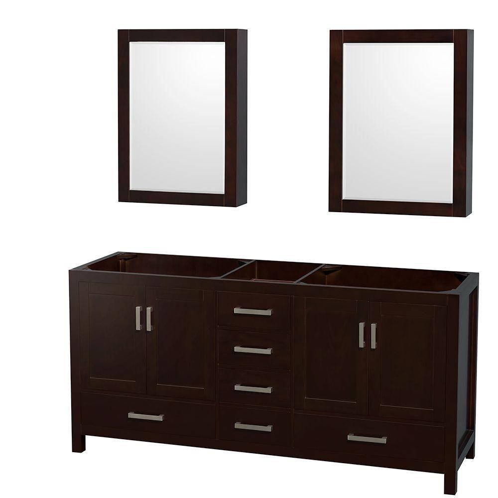 Sheffield 70-Inch  Double Vanity Cabinet with Mirror Medicine Cabinets in Espresso