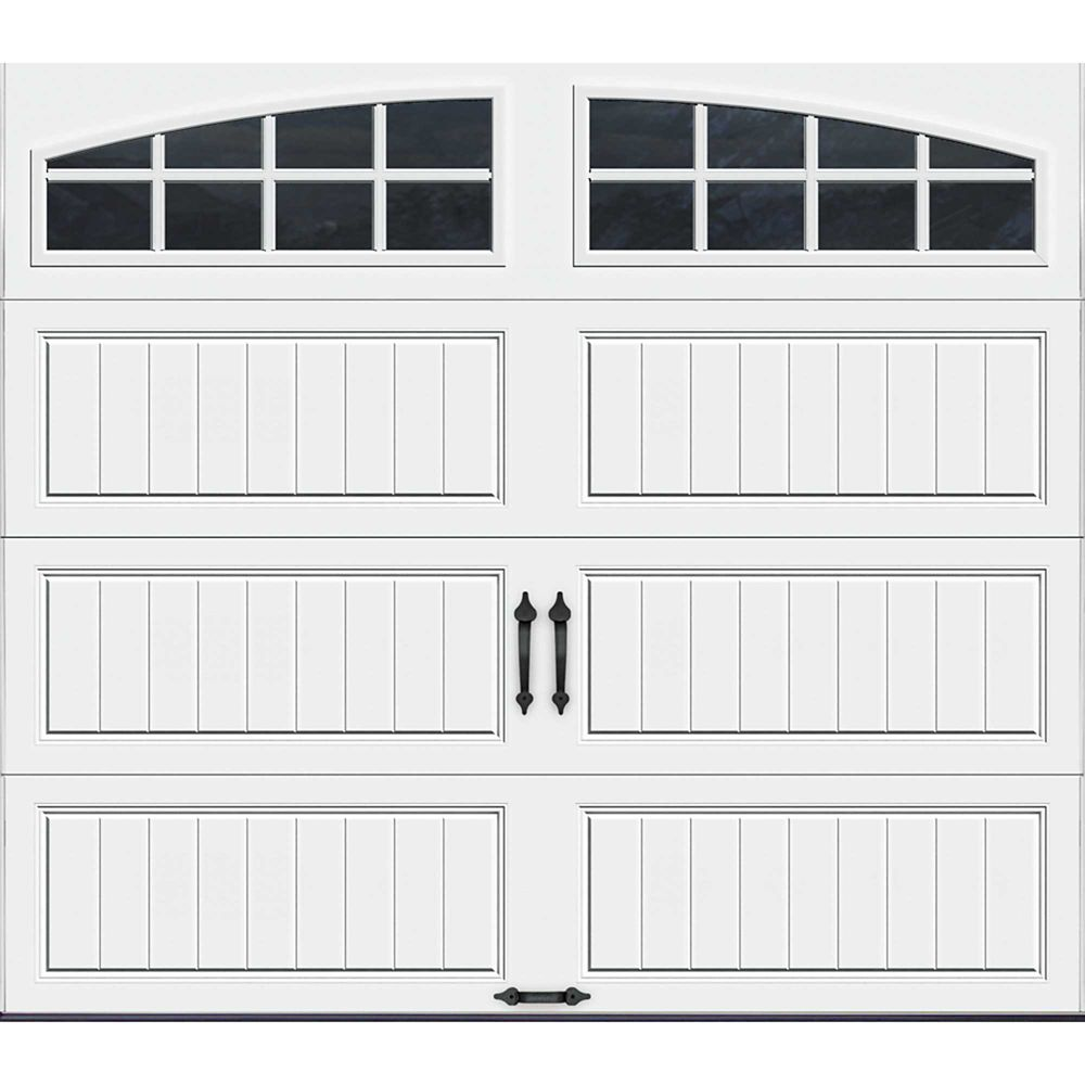 Gallery Collection 8 ft. x 7 ft. Intellicore Insulated White Garage Door with Arch Window