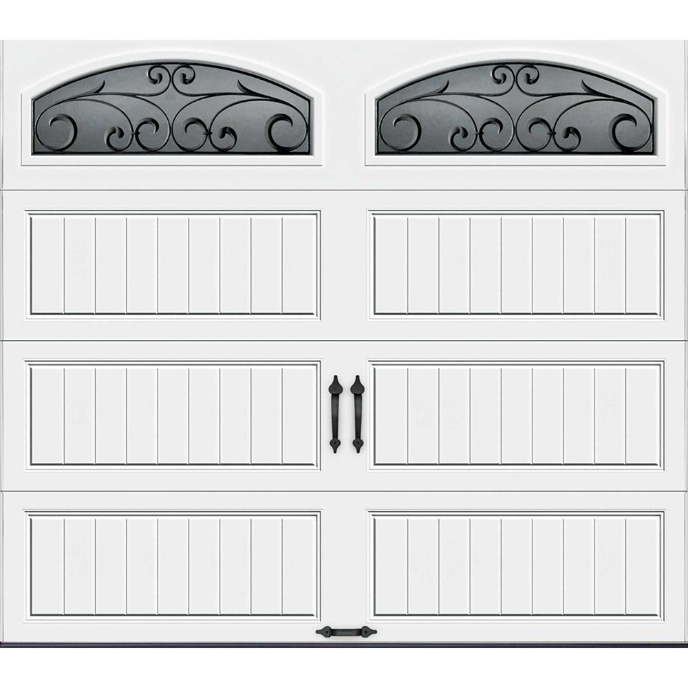 Gallery Collection 8 ft. x 7 ft. Intellicore Insulated White Garage Door with Wrought Iron Window