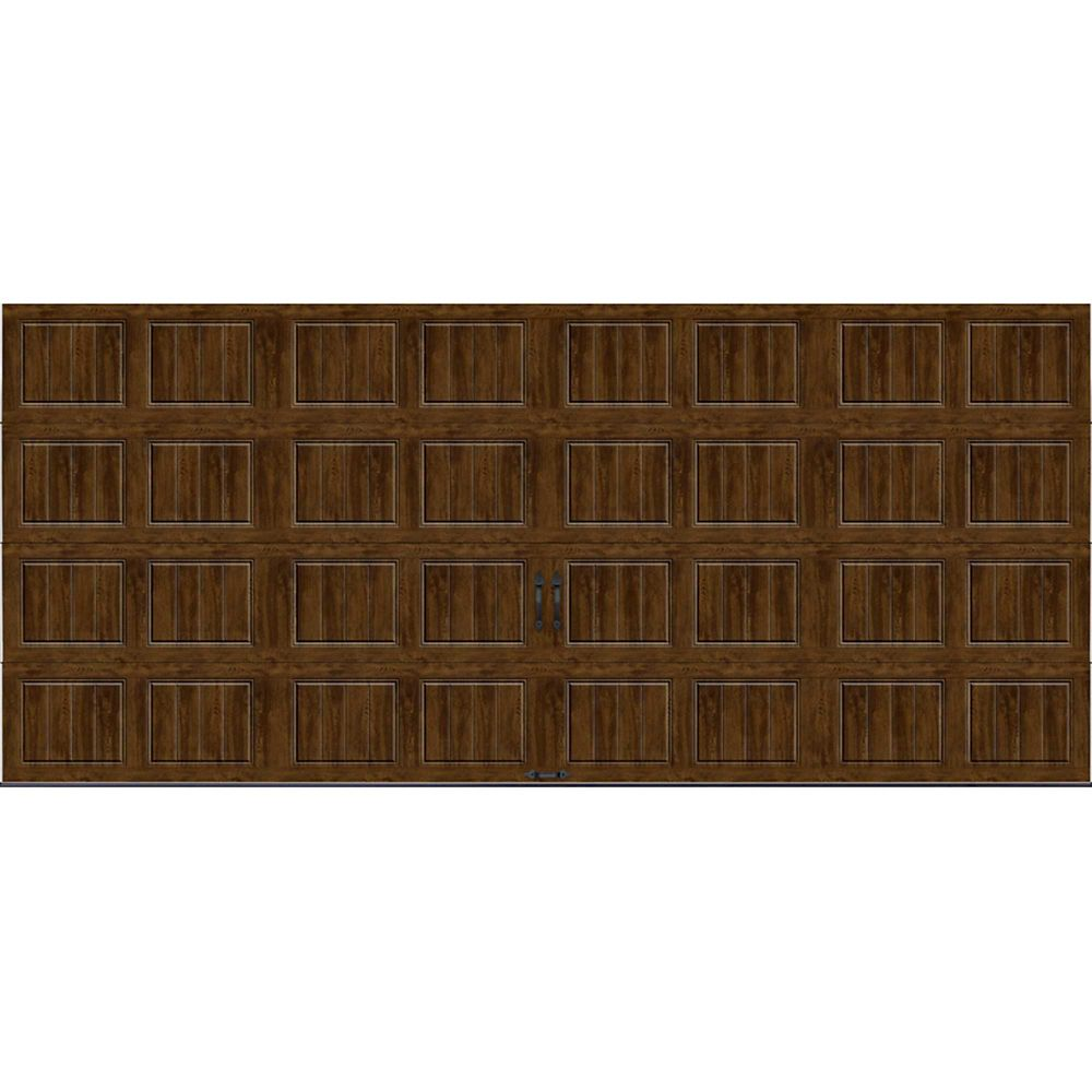 Gallery Collection 16 ft. x 7 ft. Intellicore Insulated Solid Ultra-Grain Walnut Garage Door
