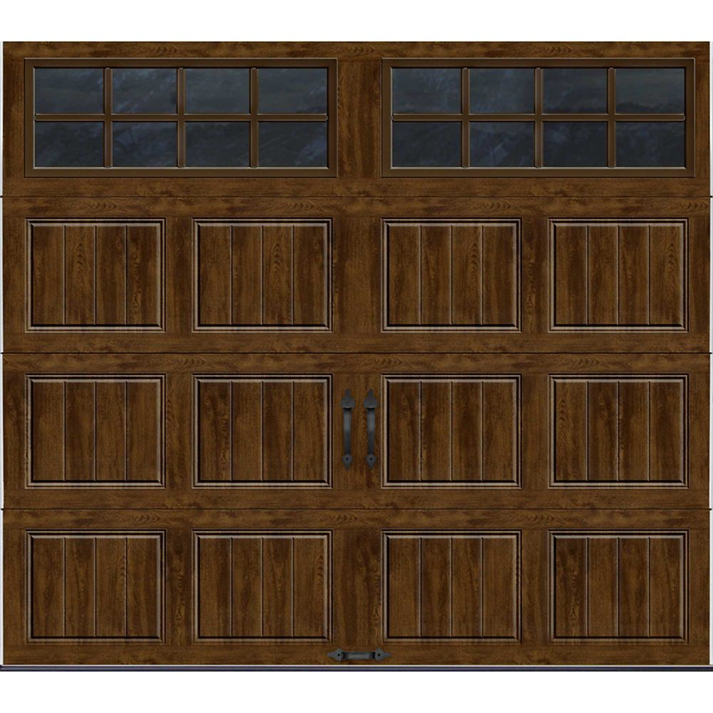 Gallery Collection 8 ft. x 7 ft. Intellicore Insulated Walnut Garage Door with SQ24 Window