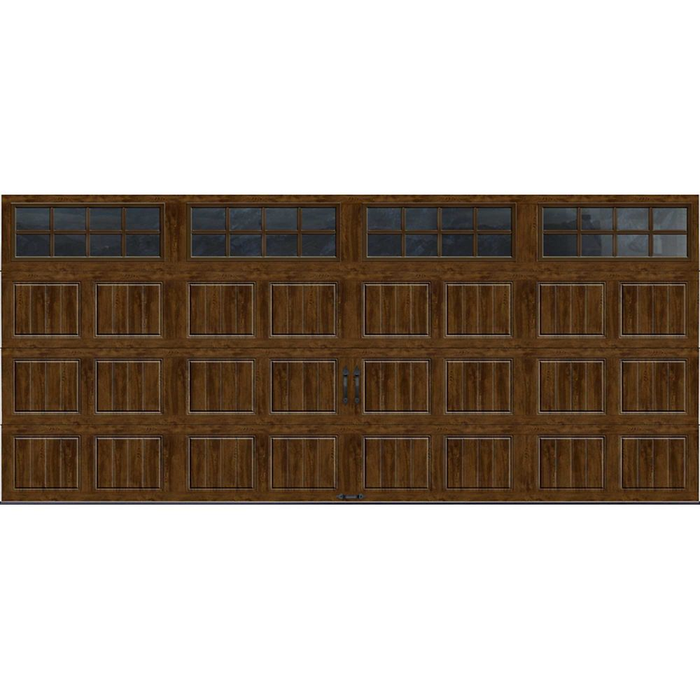Gallery Collection 16 ft. x 7 ft. Intellicore Insulated Walnut Garage Door with SQ24 Window