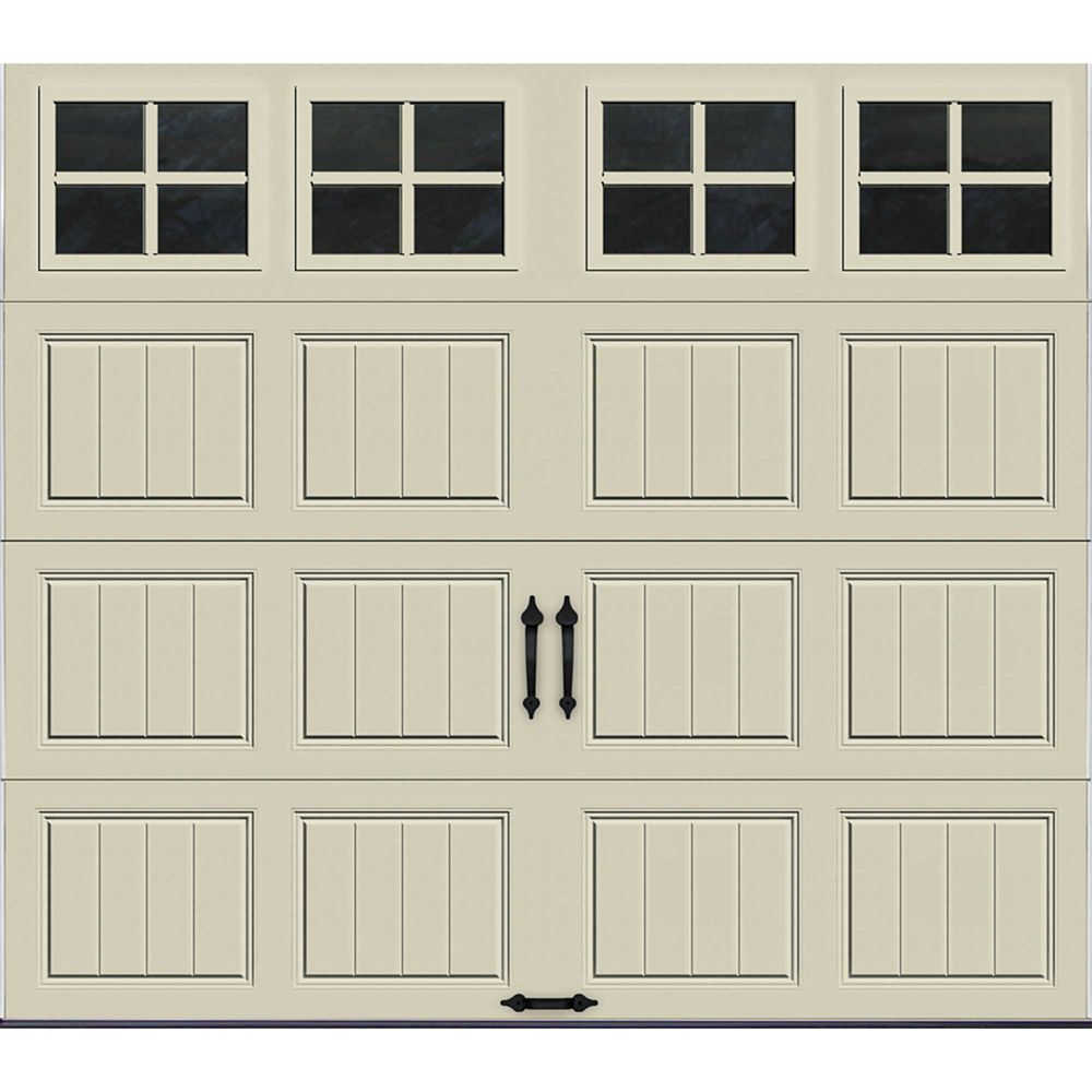 Gallery Collection 8 ft. x 7 ft. 6.5 R-Value Insulated Desert Tan Garage Door with SQ22 Window