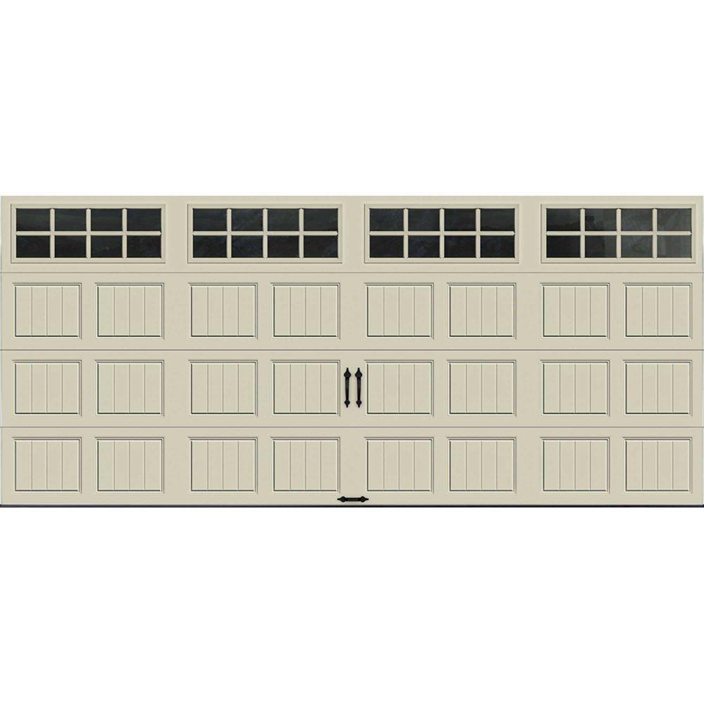 Porte de garage Collection Gallery 16pi x 7pi Valeur R 6.5 isolée en polystyrène Dune Avec fenê...