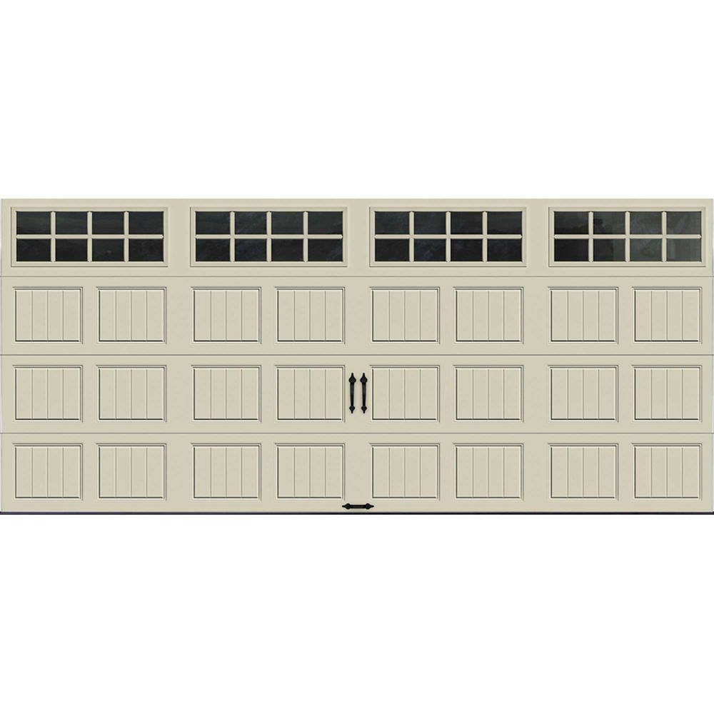 Gallery Collection 16 ft. x 7 ft. 6.5 R-Value Insulated Desert Tan Garage Door with SQ24 Window