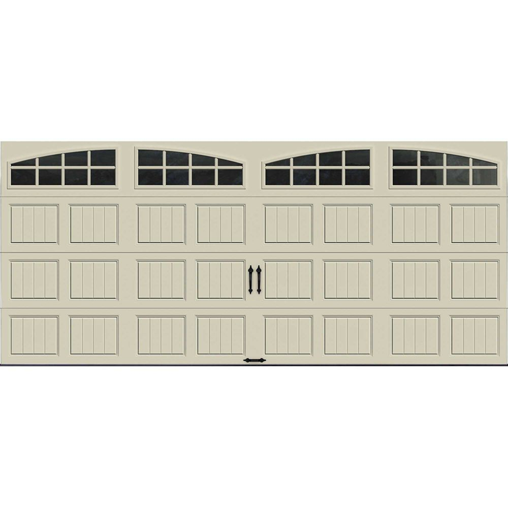Gallery Collection 16 ft. x 7 ft. 6.5 R-Value Insulated Desert Tan Garage Door with Arch Window