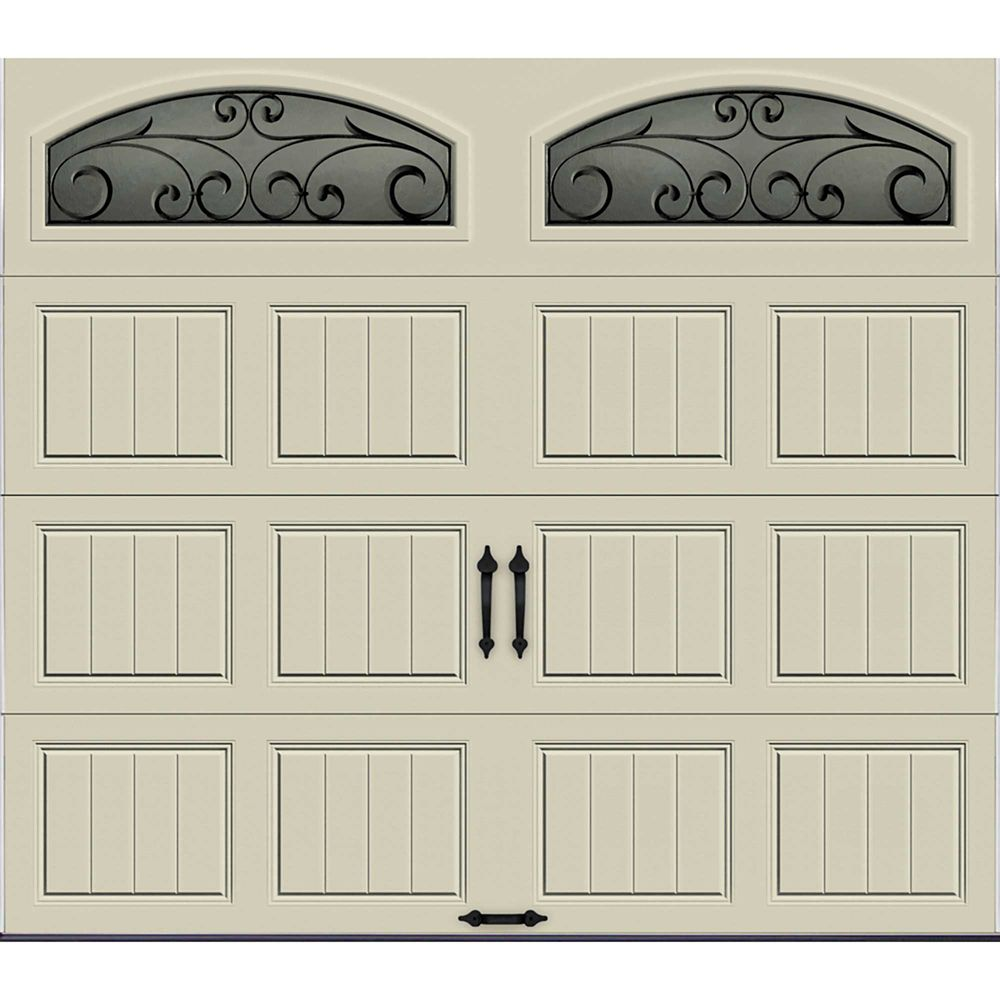 Gallery Collection 8 ft. x 7 ft. Insulated Desert Tan Garage Door with Wrought Iron Window