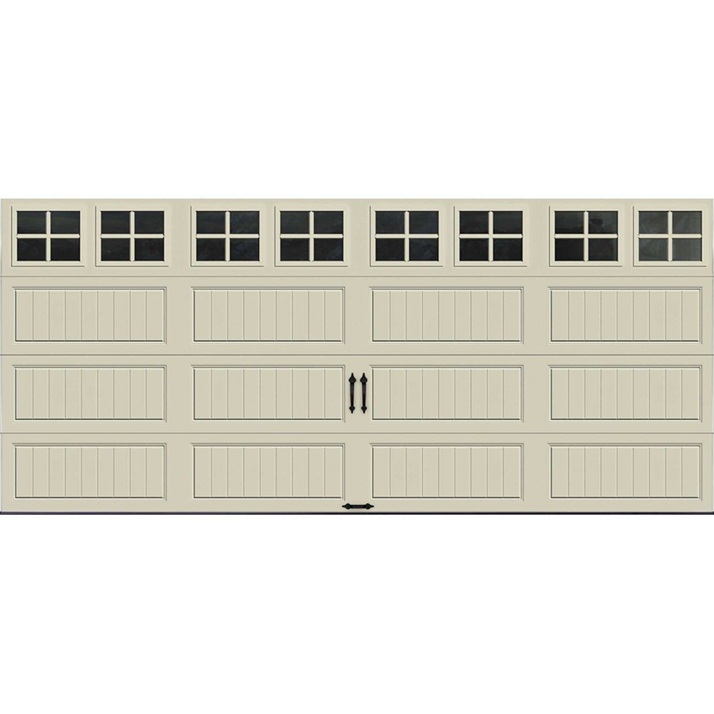 Gallery Collection 16 ft. x 7 ft. 6.5 R-Value Insulated Desert Tan Garage Door with SQ22 Window