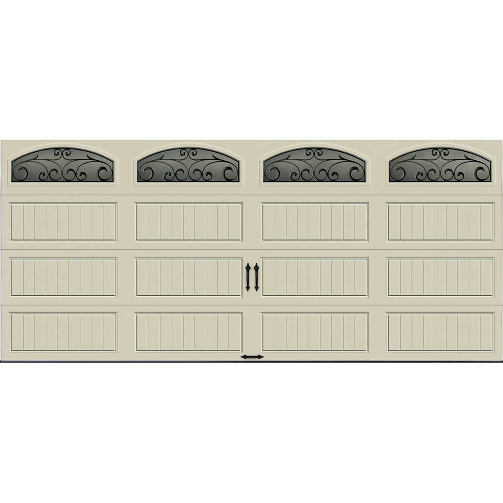 Gallery Collection 16 ft. x 7 ft. Insulated Desert Tan Garage Door with Wrought Iron Window