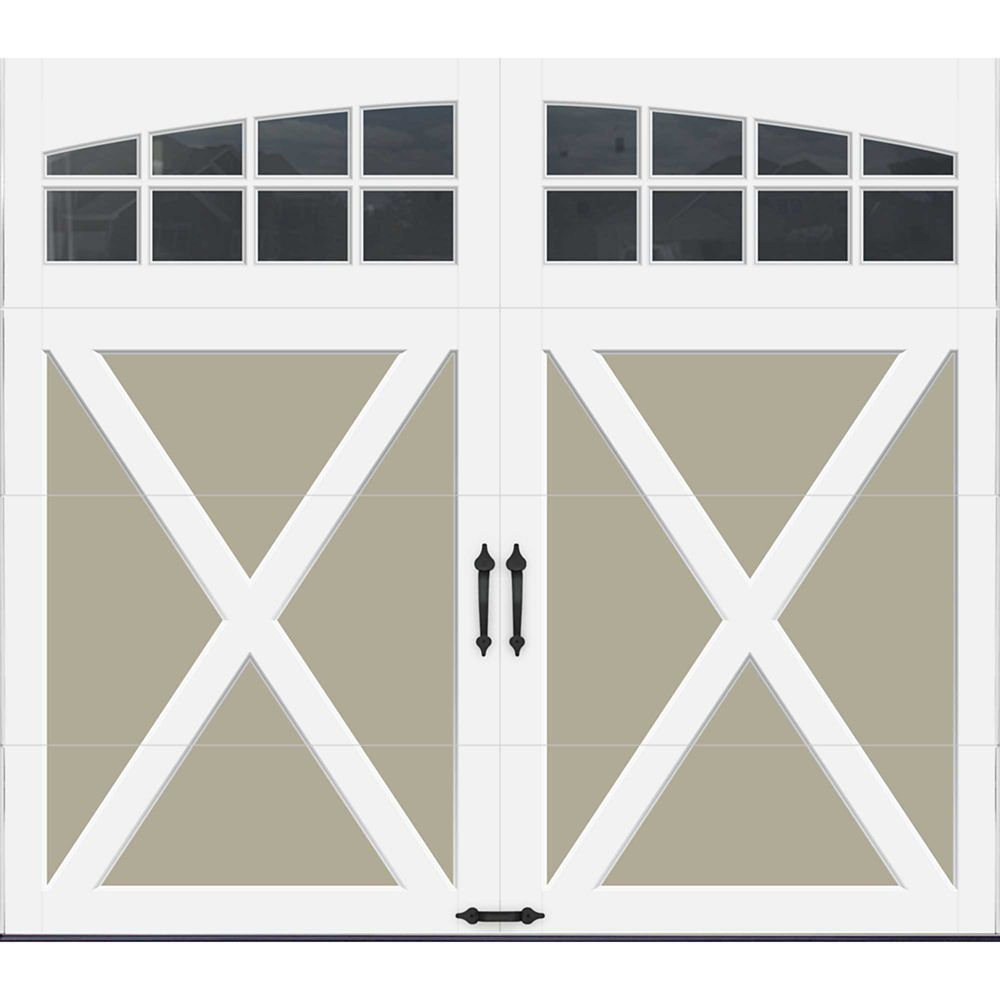 Coachman Collection 8 ft. x 7 ft. Intellicore Insulated Sandstone Garage Door with Arch Window