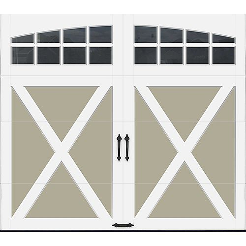 Clopay Porte de garage Collection Coahman 8 pi x 7 pi Valeur R 18.4 isolée en polyuréthane intellicore Sable Fenêtres Arch