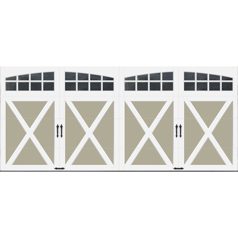 Coachman Collection 16 ft. x 7 ft. Intellicore Insulated Sandstone Garage Door with Arch Window