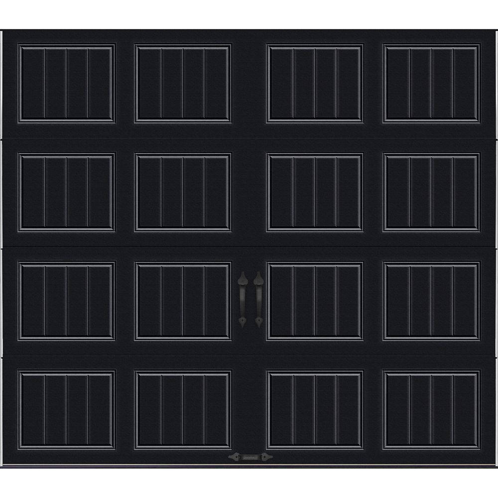 Gallery Collection 8 ft. x 7 ft. 18.4 R-Value Intellicore Insulated Solid Black Garage Door