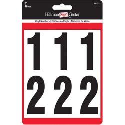 Hillman 3 Inch Black & White Vinyl Number Kit