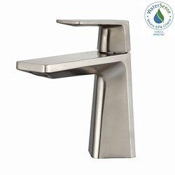 Kraus Aplos Single Hole 1-Handle Mid Arc Bathroom Faucet in Brushed Nickel with Lever Handle