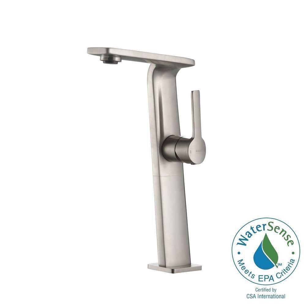 Novus Single-Lever Vessel Bathroom Faucet in Brushed Nickel Finish