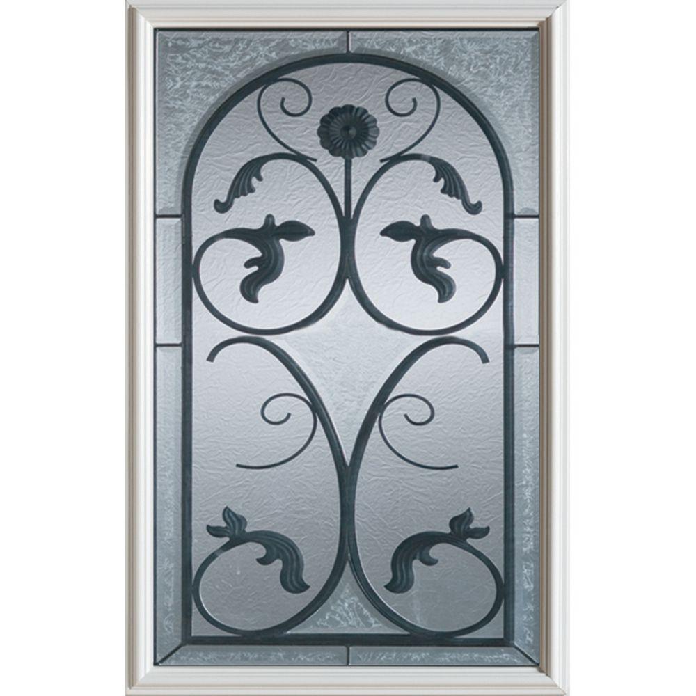 Wrought Iron 1/2-Lite Decorative Glass Door