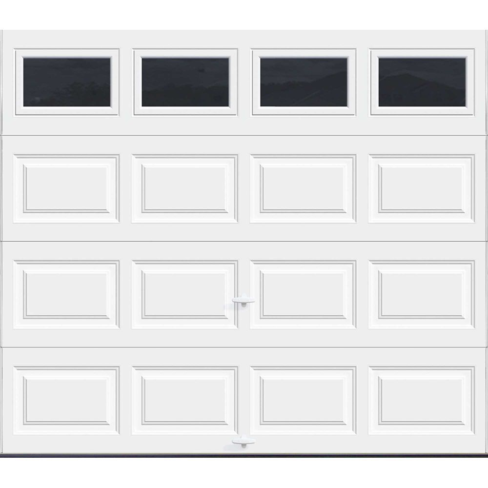 Premium Series 8 ft. x 7 ft. 18.4 R-Value Intellicore Insulated White Garage Door with Plain Wind...