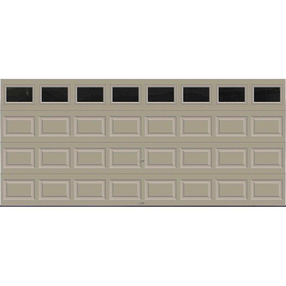 Premium Series 16 ft. x 7 ft. Intellicore Insulated Sandstone Garage Door with Plain Windows