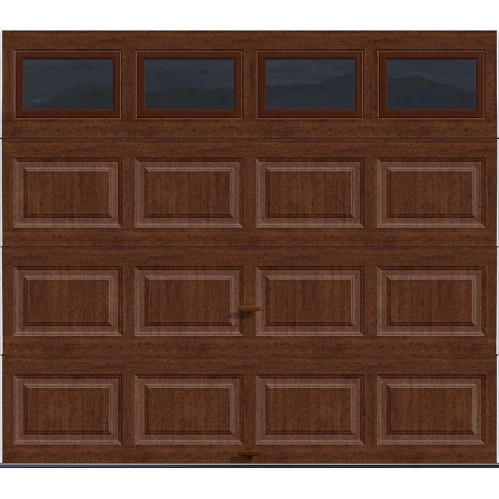 Premium Series 8 ft. x 7 ft. Intellicore Insulated Ultra-Grain Cherry Garage Door with Windows