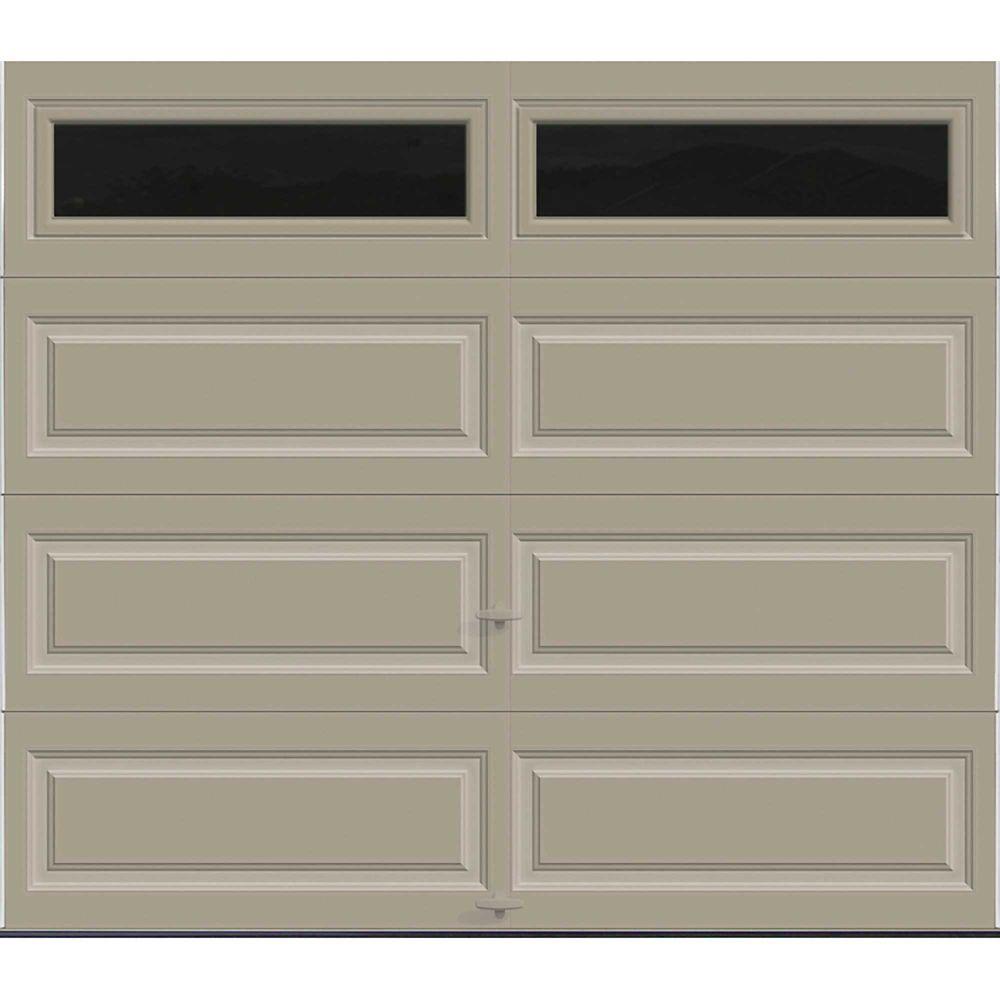 Premium Series 8 ft. x 7 ft. Intellicore Insulated Sandstone Garage Door with Plain Windows