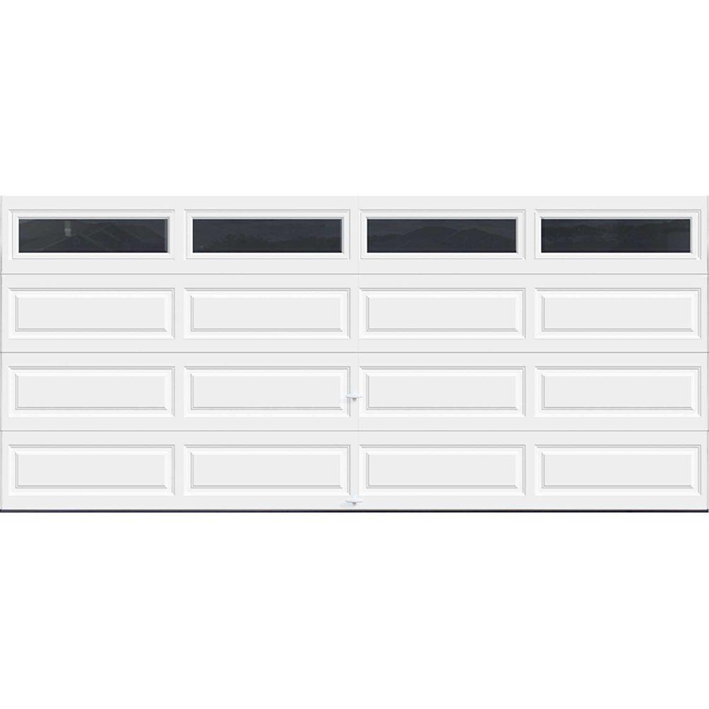 Premium Series 16 ft. x 7 ft. Intellicore Insulated White Garage Door with Plain Windows
