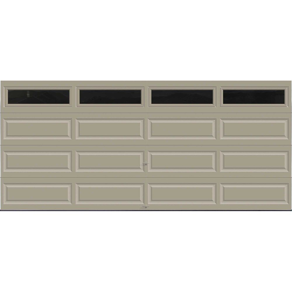 Premium Series 16 ft. x 7 ft. Intellicore Insulated Sandstone Garage Door with Plain Windows