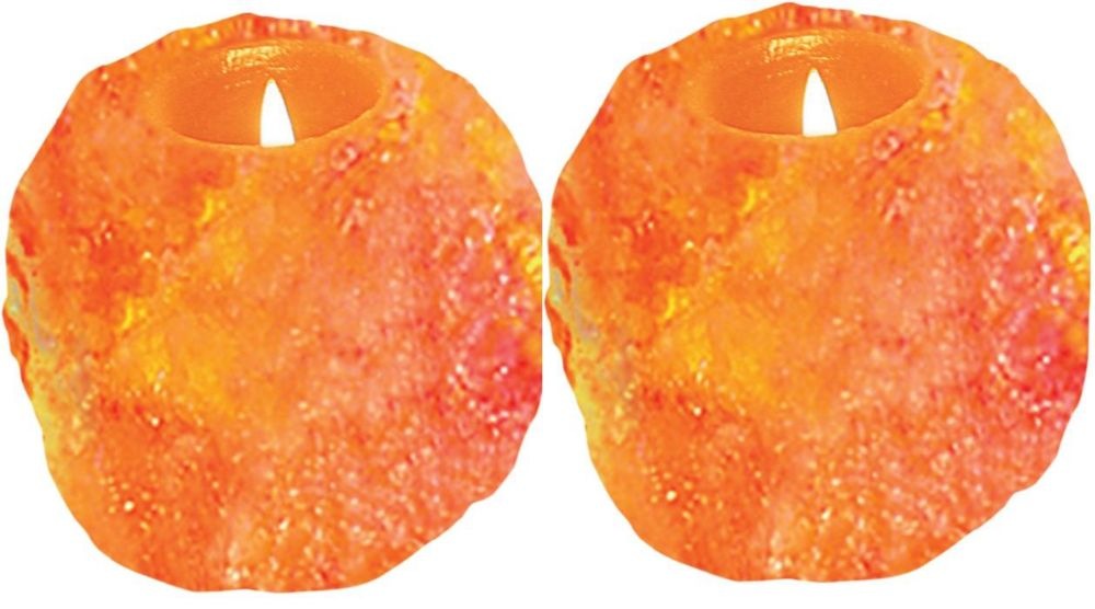 Himalayan Ionic Natural Candle Holder Set Of 2- 1 Hole