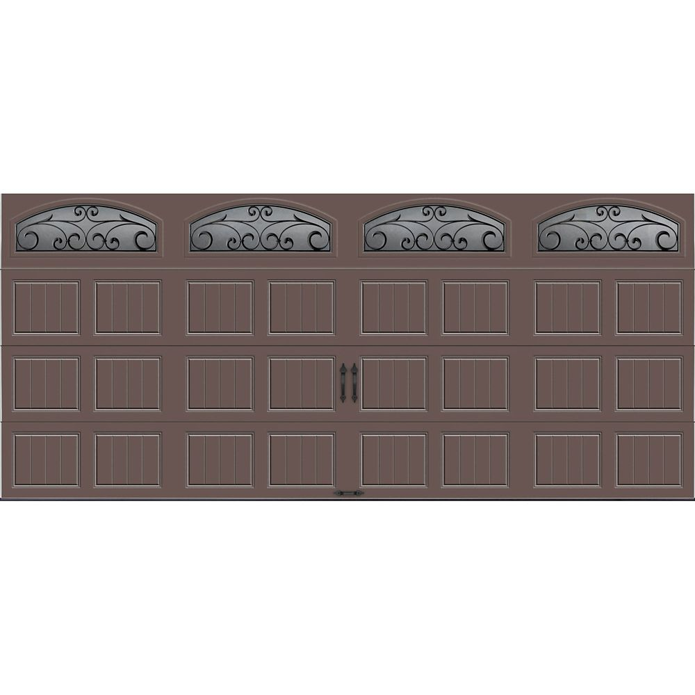Gallery Collection 16 ft. x 7 ft. Intellicore Insulated Bronze Garage Door with Wrought Iron Wind...