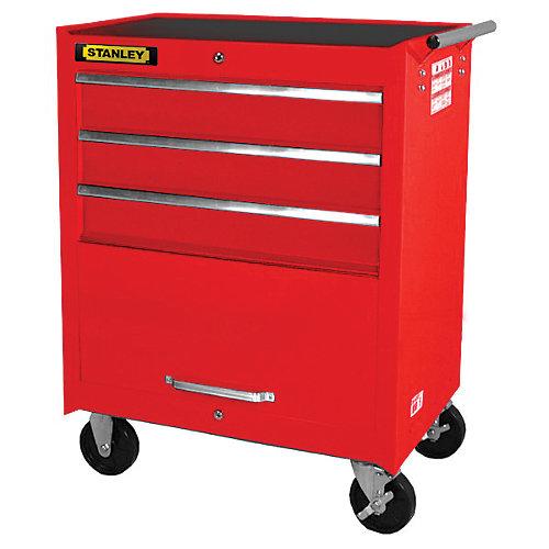 27 Inch 3 drawer, 1 door Cabinet, Red