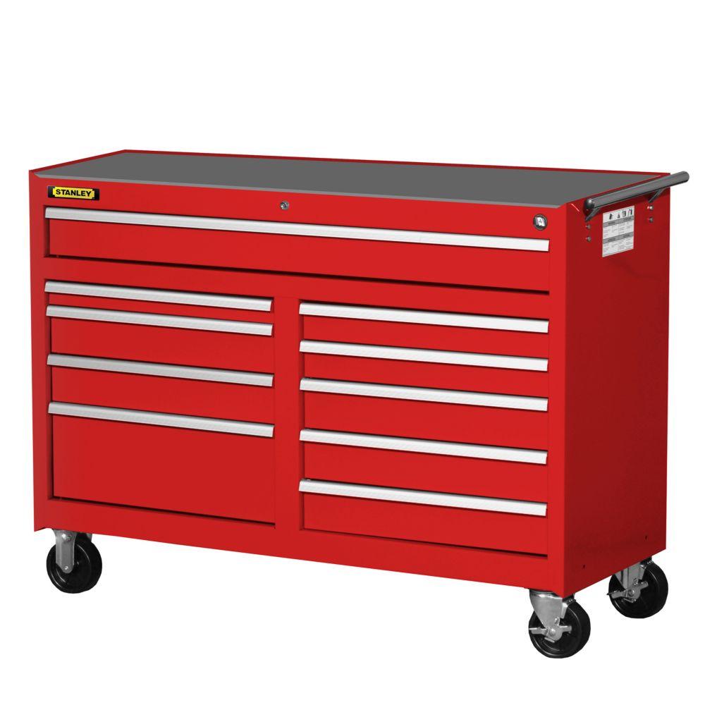 54 Inch 10 Drawer Cabinet, Red