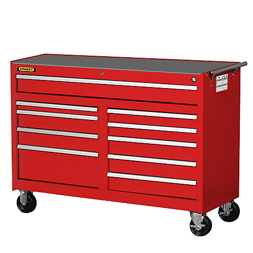 54 Inch 10 Drawer Cabinet, Red