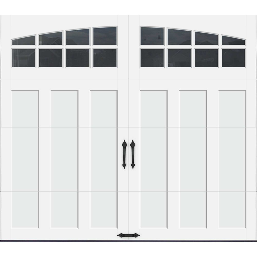 Coachman Collection 8 ft. x 7 ft. Intellicore Insulated White Garage Door with Arch Window