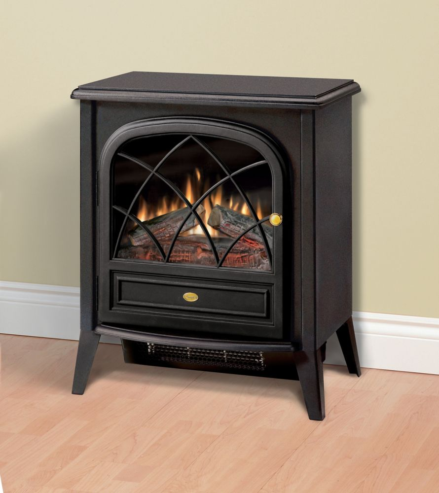 Compact Electric Stove with Detailed Door, Black Finish