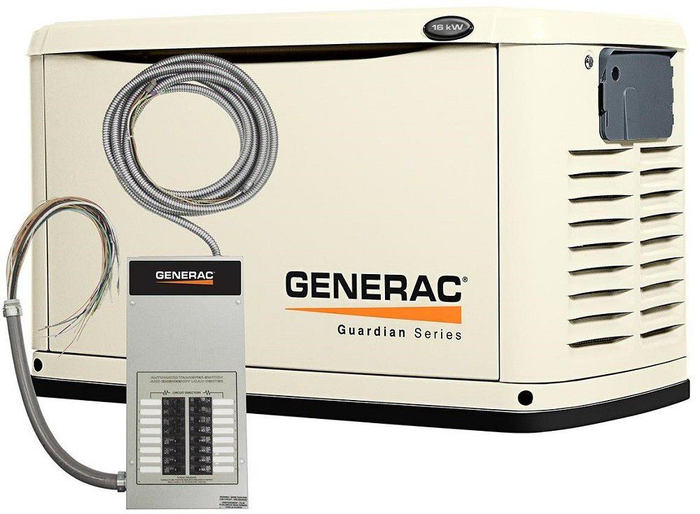 16,000-Watt Air Cooled Automatic Standby Generator with 100-Amp 16 Circuit Pre-wired Transfer Swi...